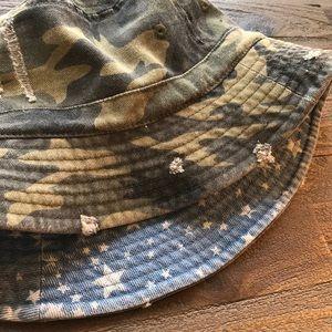 Camo and Denim Reversible Bucket Hat NWOT